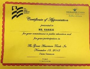 Certificate of Appreciation for Great American Teach-In