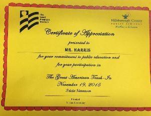 Certificate of Appreciation for Great American Teach-In